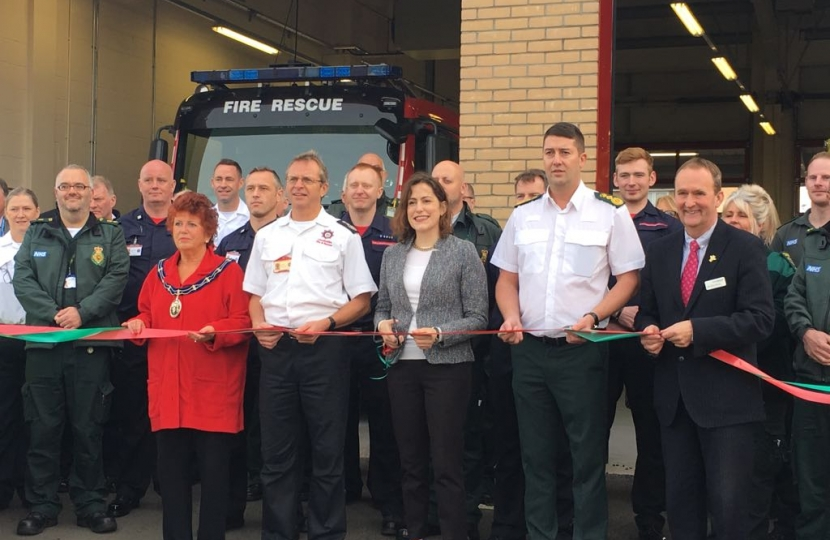 Victoria Atkins opening the new joint fire and ambulance station