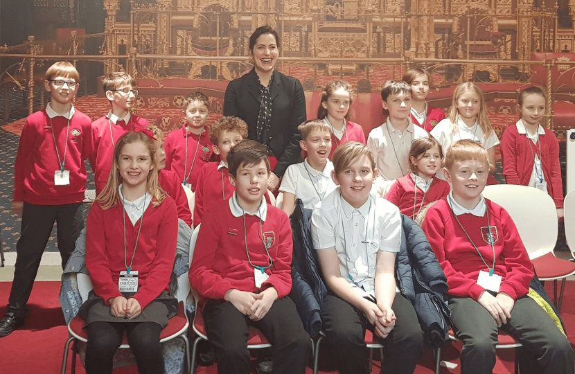 Victoria Atkins MP with Coningsby St Michael's children after their animated Q and A session.