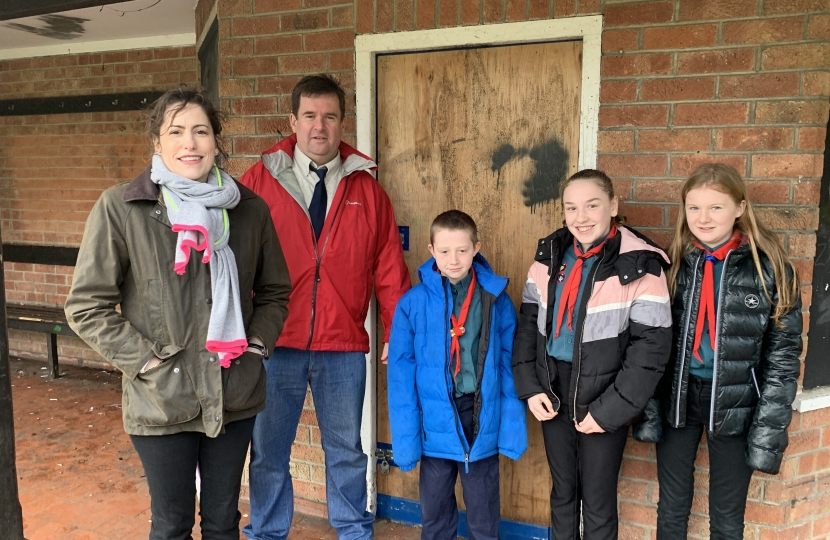 Victoria Atkins MP visits Charles Street development with Louth Scouts