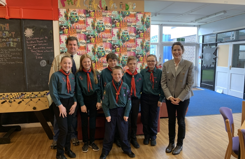 Victoria Atkins MP meets Louth Scouts and their leader, Adrian Beech