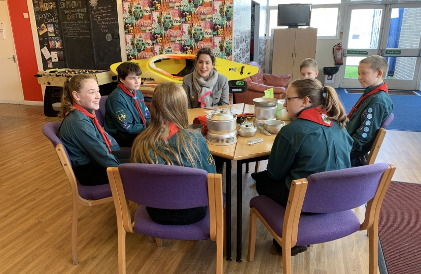 Victoria Atkins MP chats to Louth Scouts