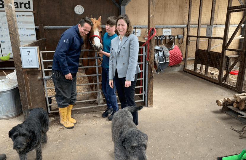 Victoria Atkins MP meets animals at St Lawrence school, Horncastle